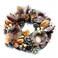 Krans rond 4 glazen waxine houders